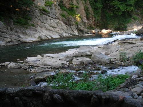 湯船の向こうの阿賀川