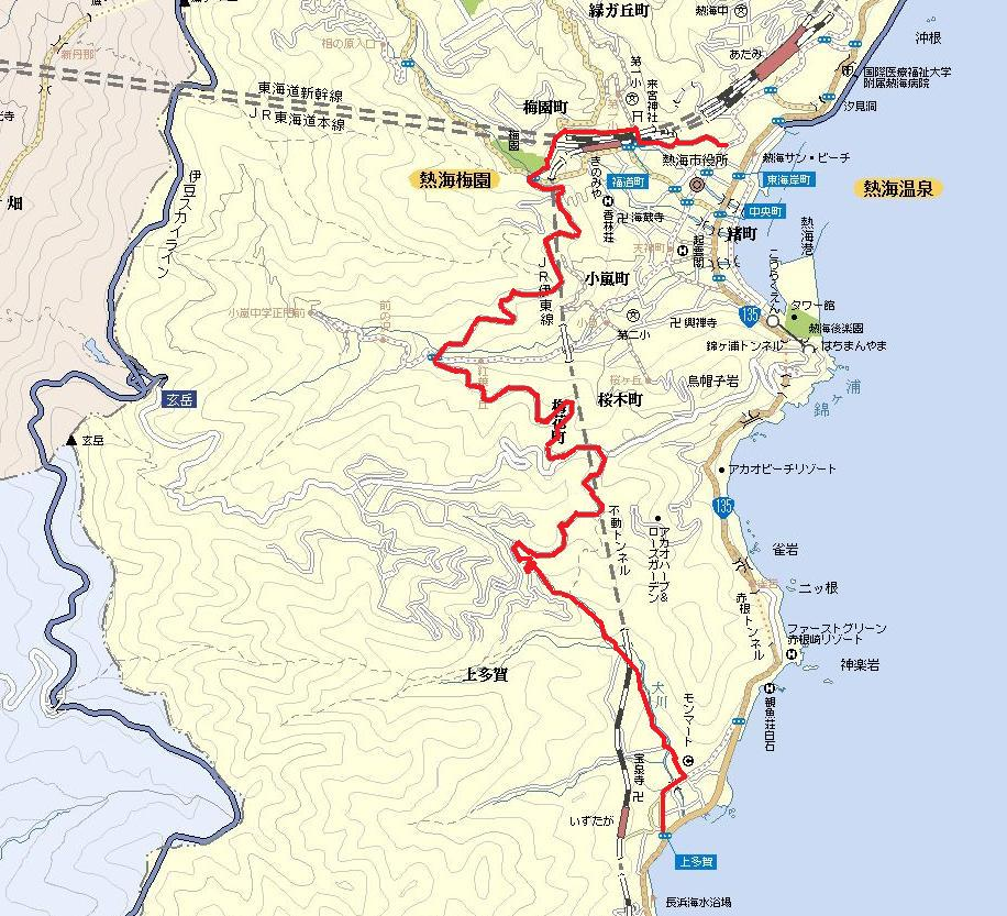 この記事で紹介する「頼朝ライン」も、そういう抜け道の一つで、熱海~上多賀間の渋滞を回避するために、タクシーなどを中心に地元の人達はよく利用しています。